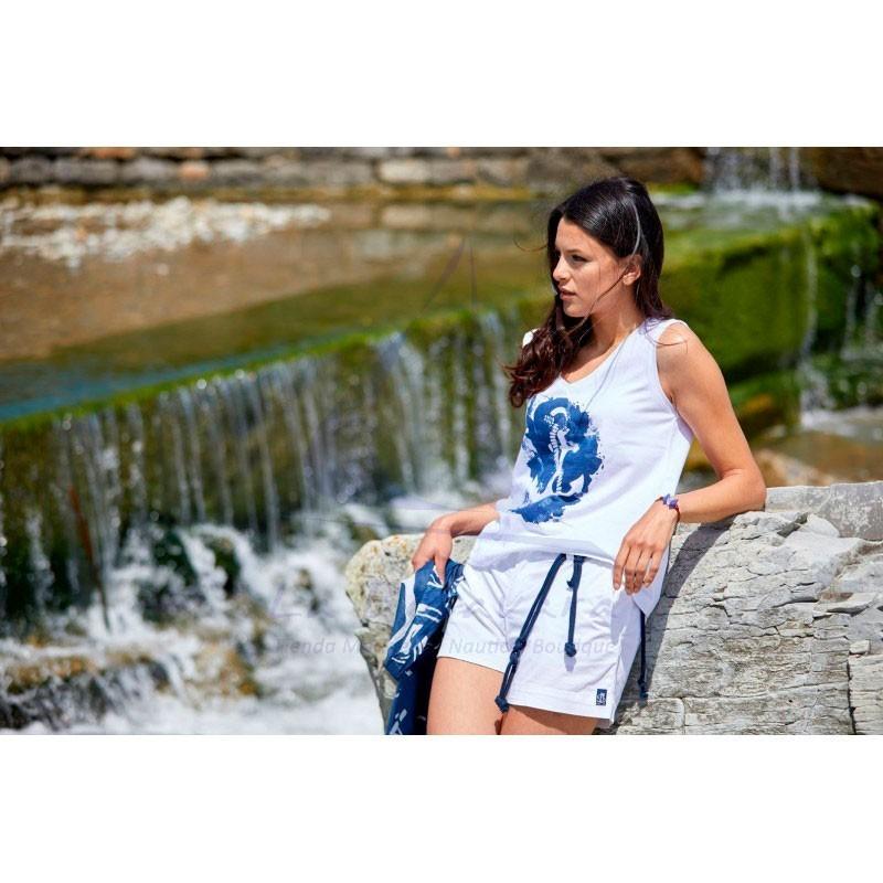 White sleeveless Batela T-shirt with blue anchor 2