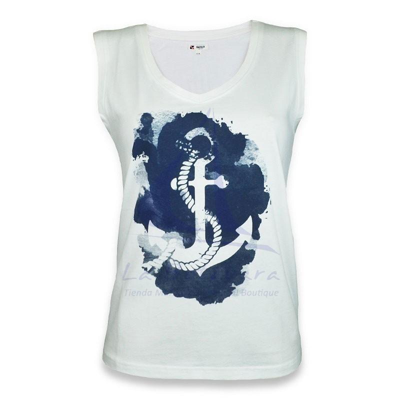 White sleeveless Batela T-shirt with blue anchor