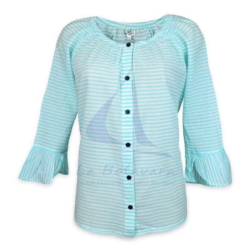 Blusa Batela de rayas azul seaglass y blanco