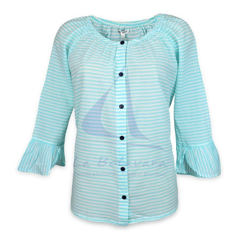 Batela blouse with seaglass blue and white stripes