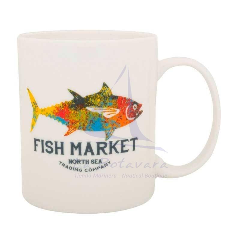 Nautical mug with Fish Market print