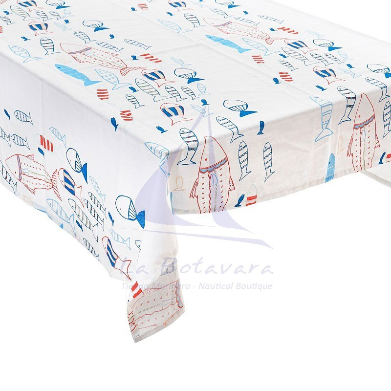 Fishes tablecloth with 8 matching napkins