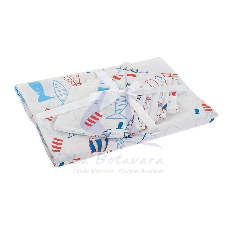 Mantel blanco de peces de colores con 8 servilletas a juego 2