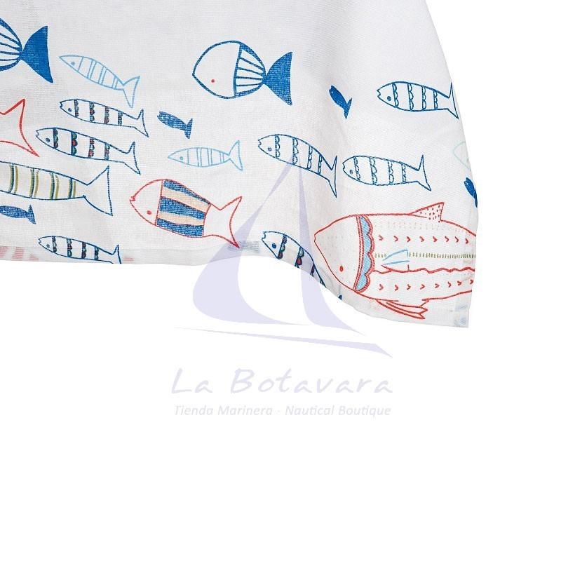 Mantel blanco de peces de colores con 8 servilletas a juego 3