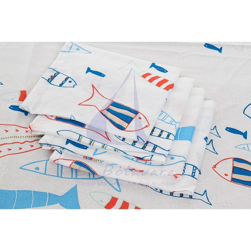 Fishes tablecloth with 8 matching napkins 4