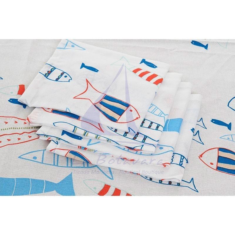 Mantel blanco de peces de colores con 8 servilletas a juego 4