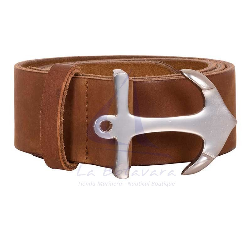 Batela leather belt with anchor buckle