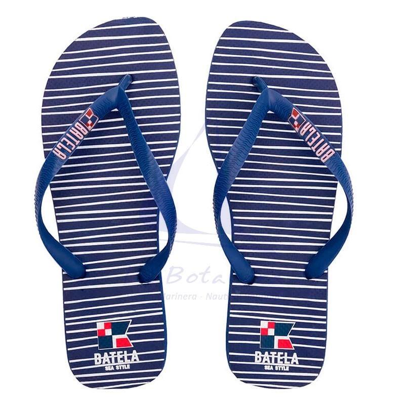 Navy blue Batela flip flops withstripes for man