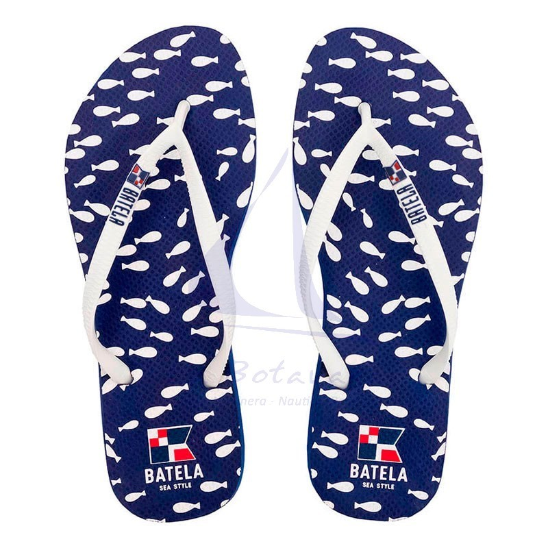 Navy blue Batela flip flops with fishes for woman.