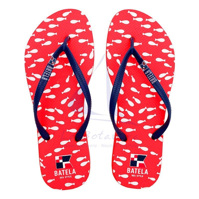Red Batela flip flops with fishes for woman.