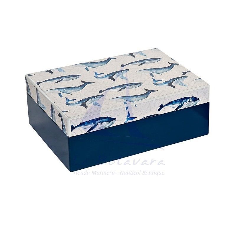 Blue wooden box with whales