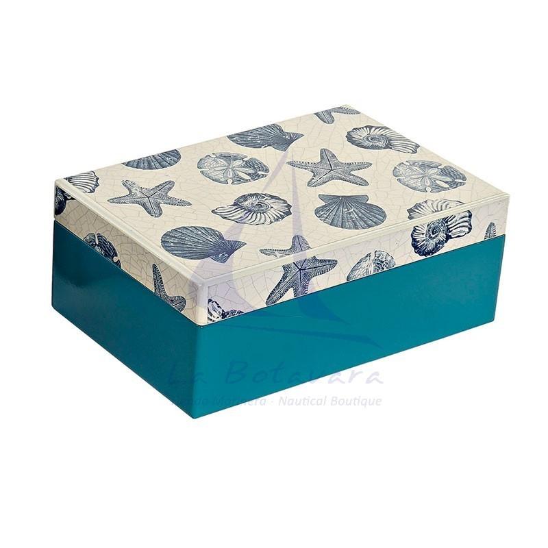 Caja de madera azul con caracolas