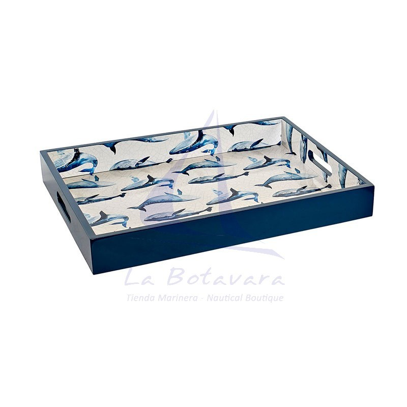 Bandeja de madera azul marino con ballenas