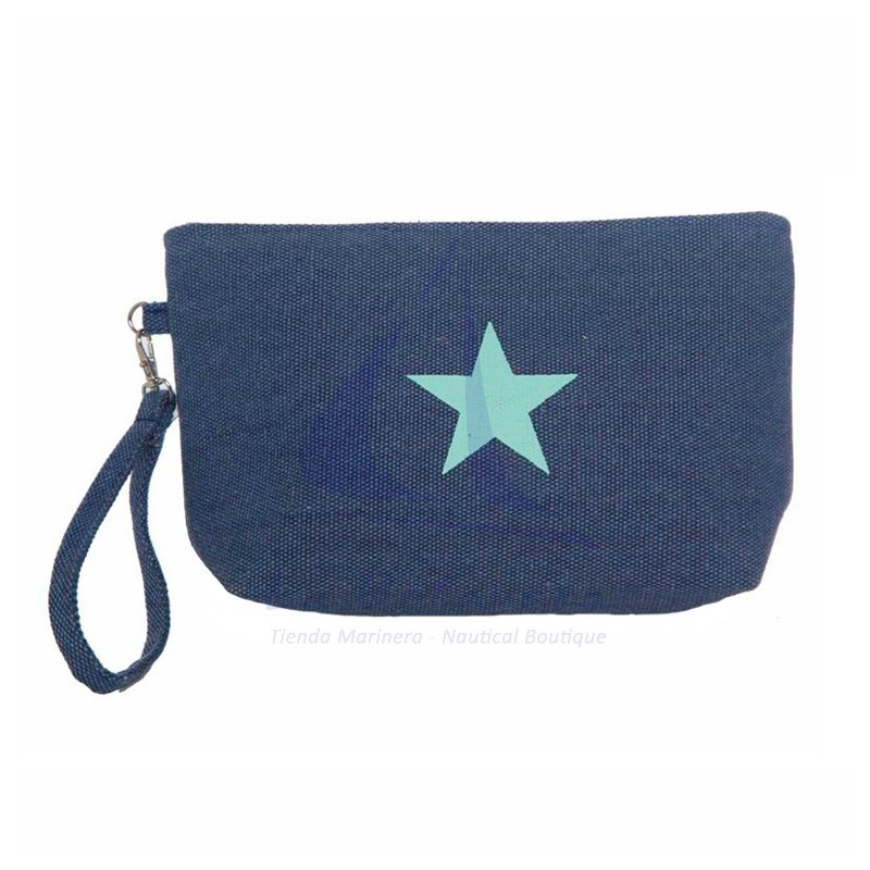 Navy blue Canvas toiletry bag with blue star