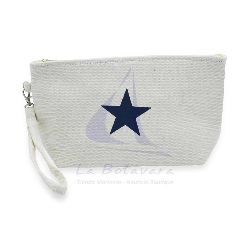 White Canvas toiletry bag with star