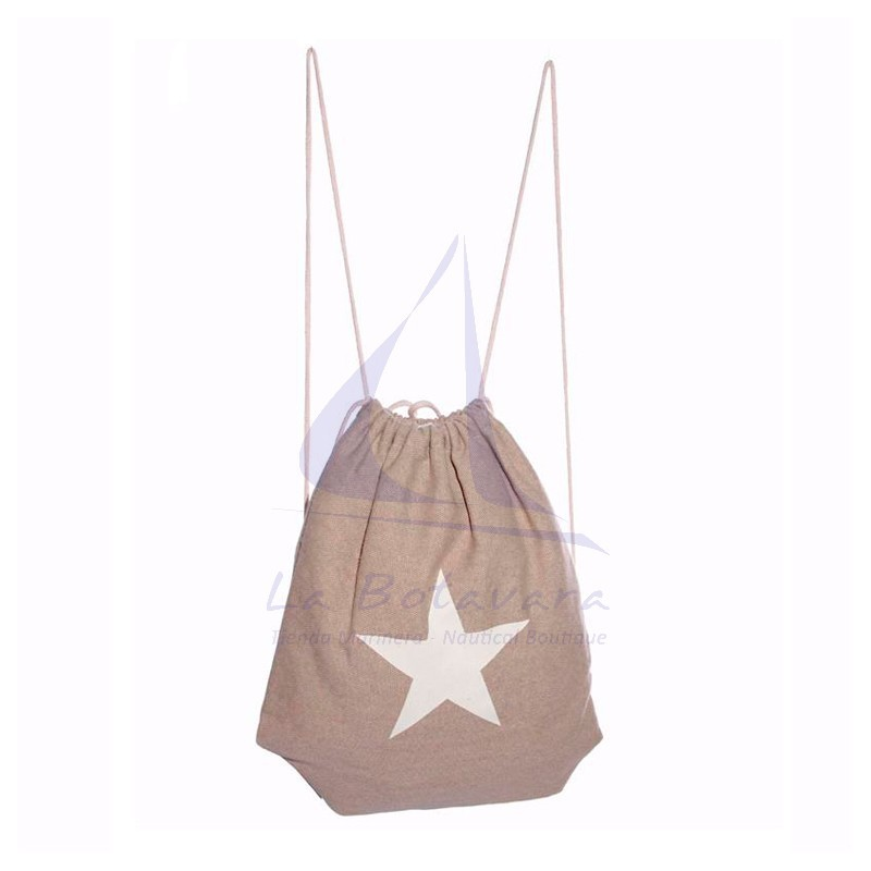 Beige Star canvas backpack