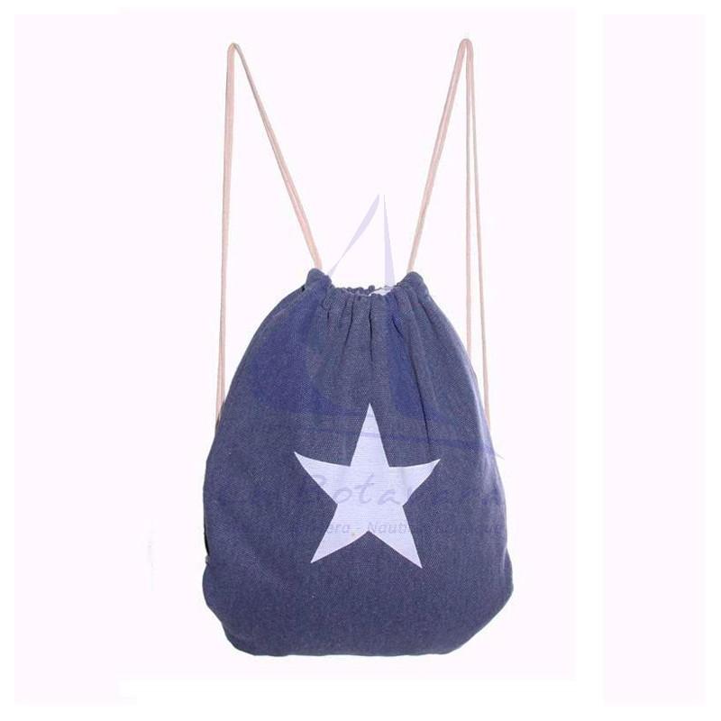 Mochila de lona con estrella azul marino