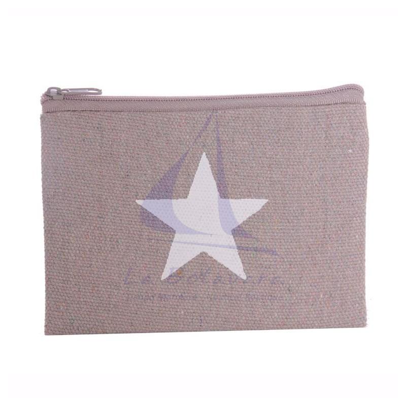 Monedero de lona con estrella gris