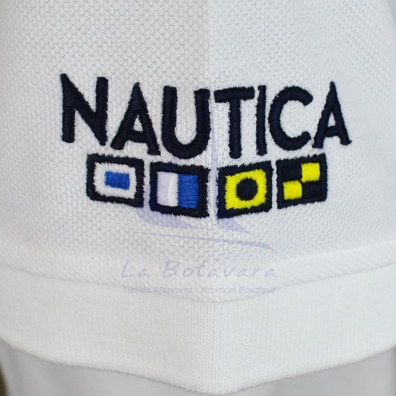 White Nautica Polo with nautical flags 2
