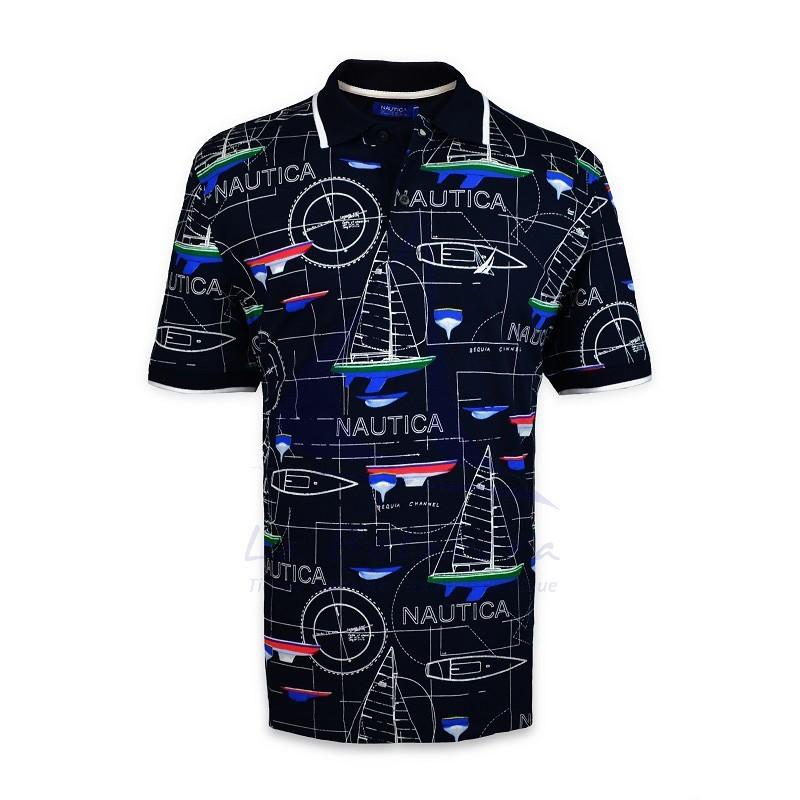 Navy blue Nautica polo shirt with sailboats