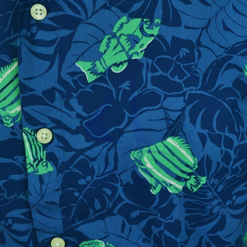 Blue Nautica shirt with fishes 2