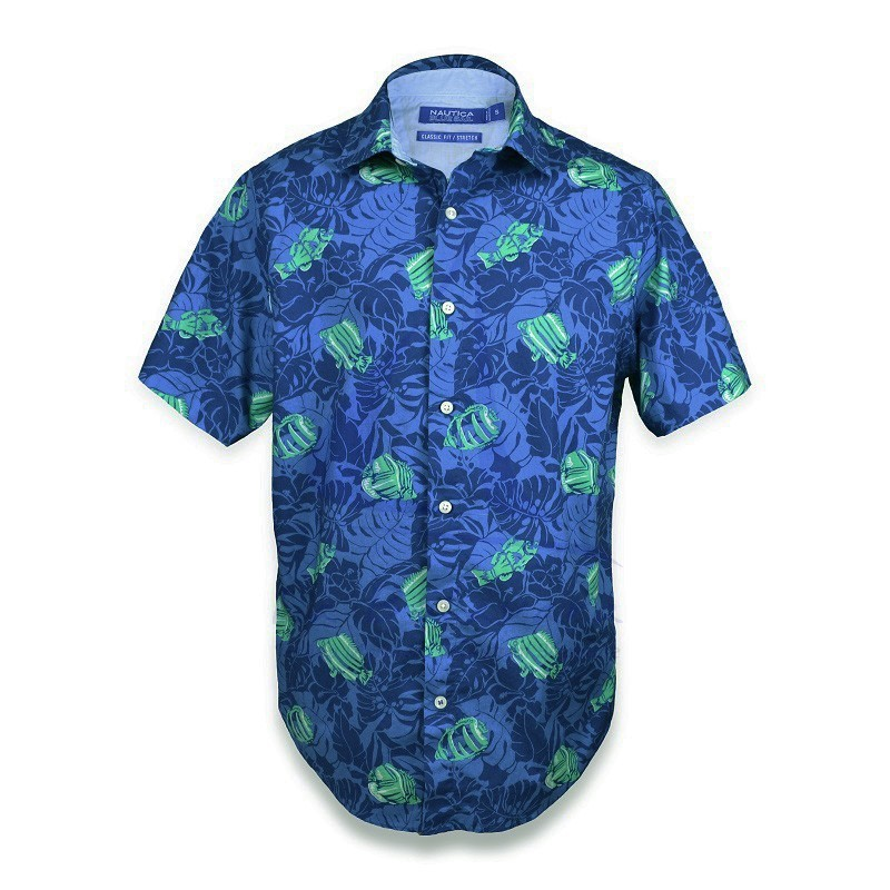 Blue Nautica shirt with fishes