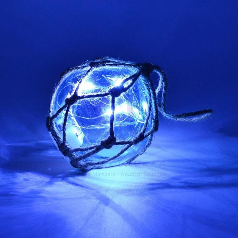 Boya de cristal con LED's turquesa 7,5cm 2