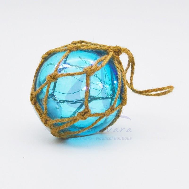 Boya de cristal con LED's turquesa 7,5cm
