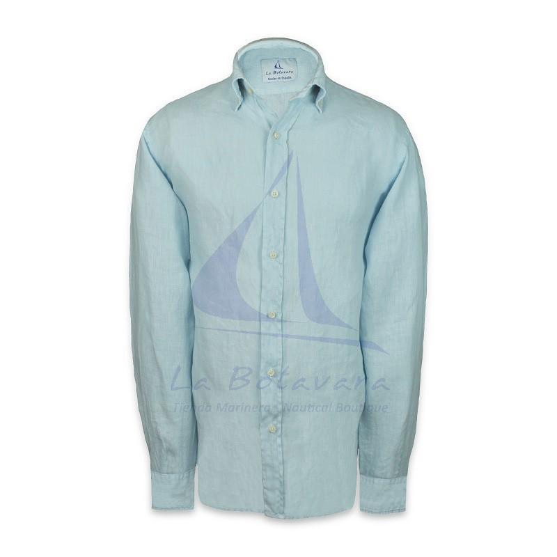 Sky blue american buttoned collar linen shirt