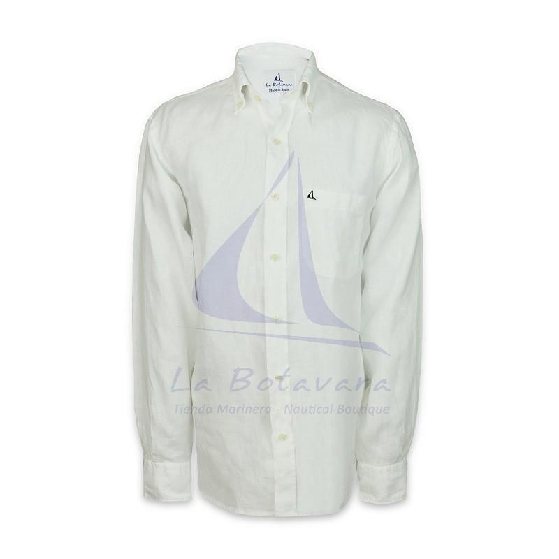 Camisa Fernando de Carcer de lino con bordado de La Botavara blanca