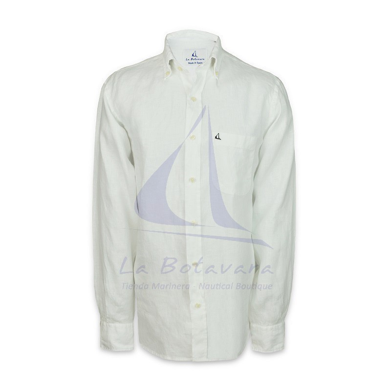 White embroidered linen shirt with sailboat