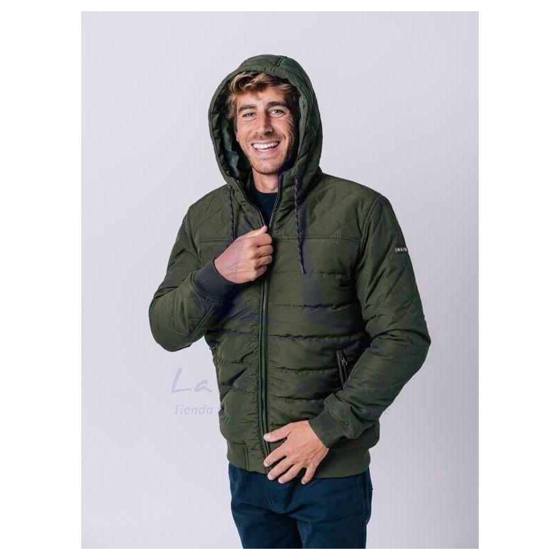 Khaki Padded Batela jacket with hood