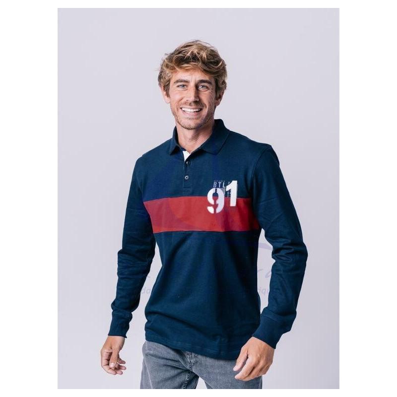Navy blue and light maroon Batela men's polo shirt