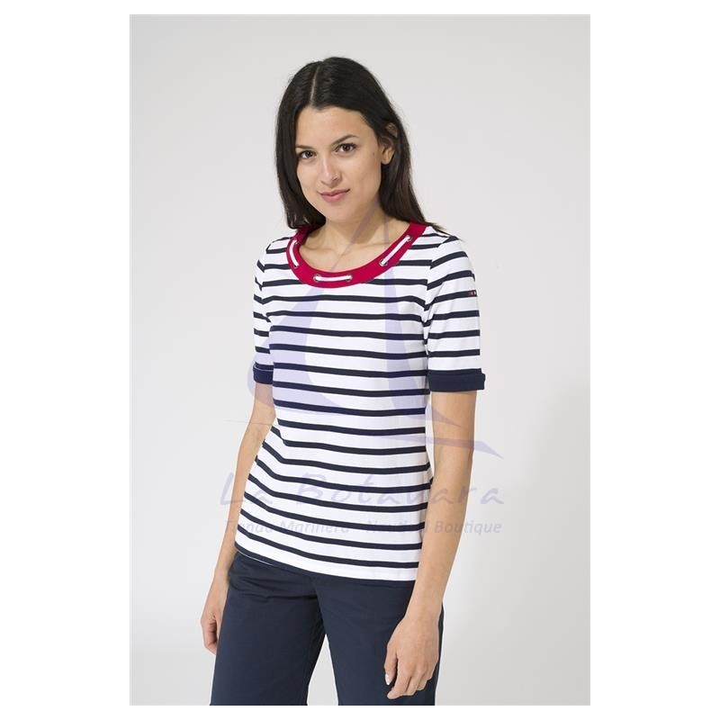 white & navy blue Batela woman t-shirt with rope collar 3