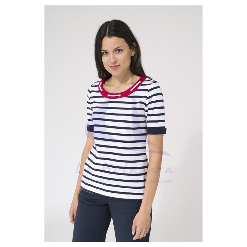Camiseta Batela de mujer con cuello de cabo blanco y marino 2
