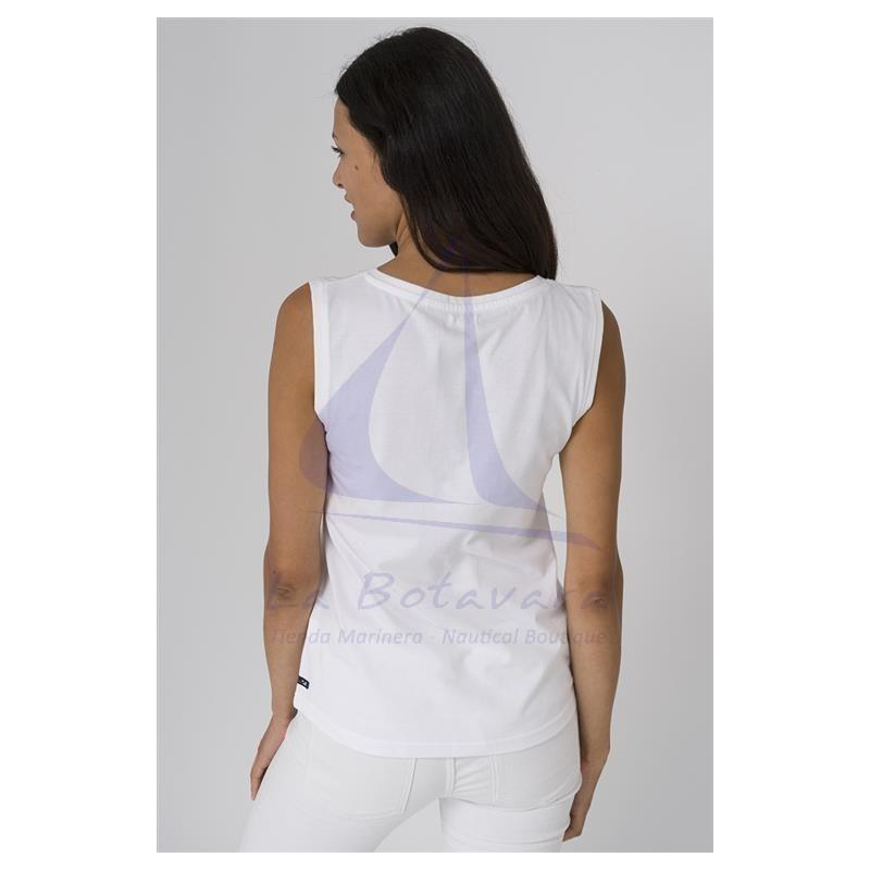 White sleeveless Batela T-shirt with blue anchor 4