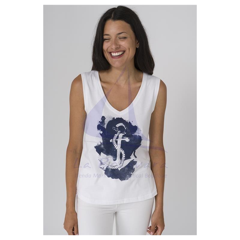White sleeveless Batela T-shirt with blue anchor 3