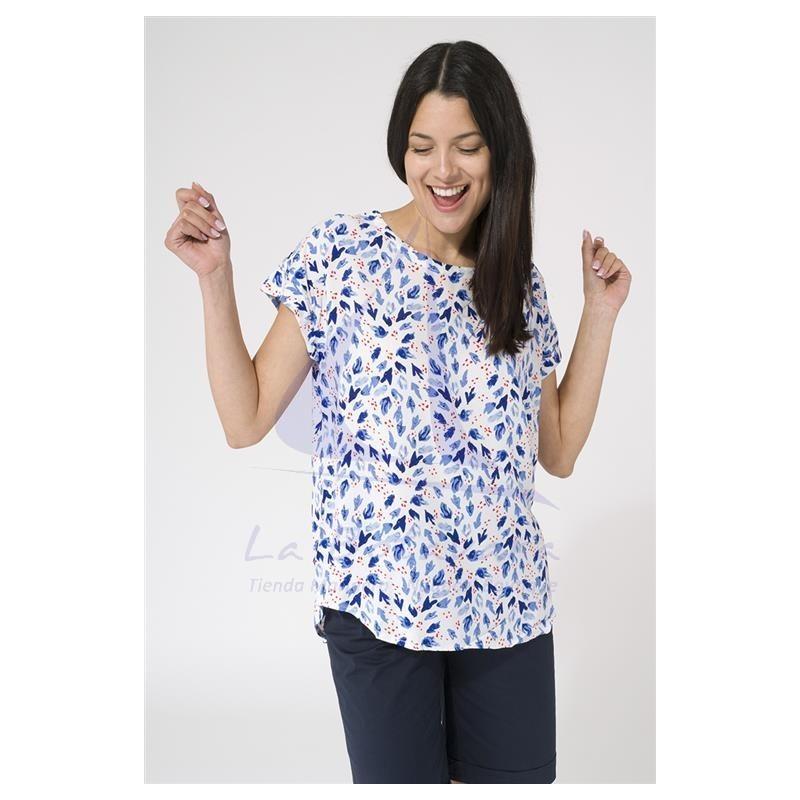 Camiseta Batela de viscosa anemonas azules de manga corta 2