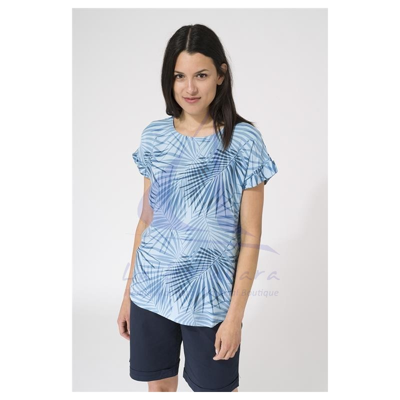 Batela short sleeve viscose blue palms t-shirt 3