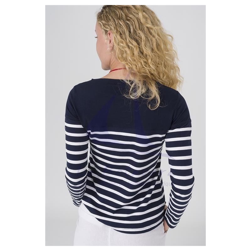 NAVY BLUE & WHITE LONG SLEEVE WOMEN T-SHIRT 4