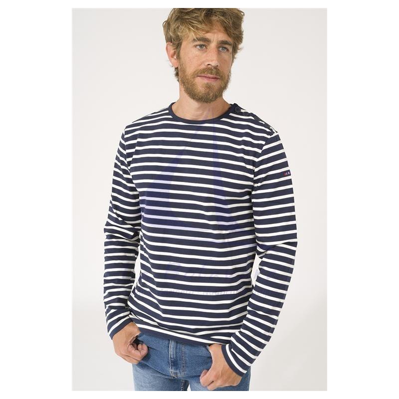 Navy blue and ecru long sleeve Batela men's T-shirt 3