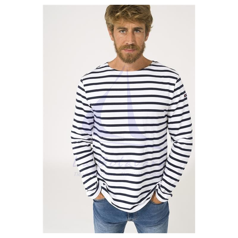 WHITE & NAVY BLUE LONG SLEEVE BATELA T-SHIRT 2104