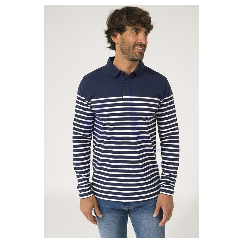 Navy blue and ecru long sleeve Batela men's polo shirt 2