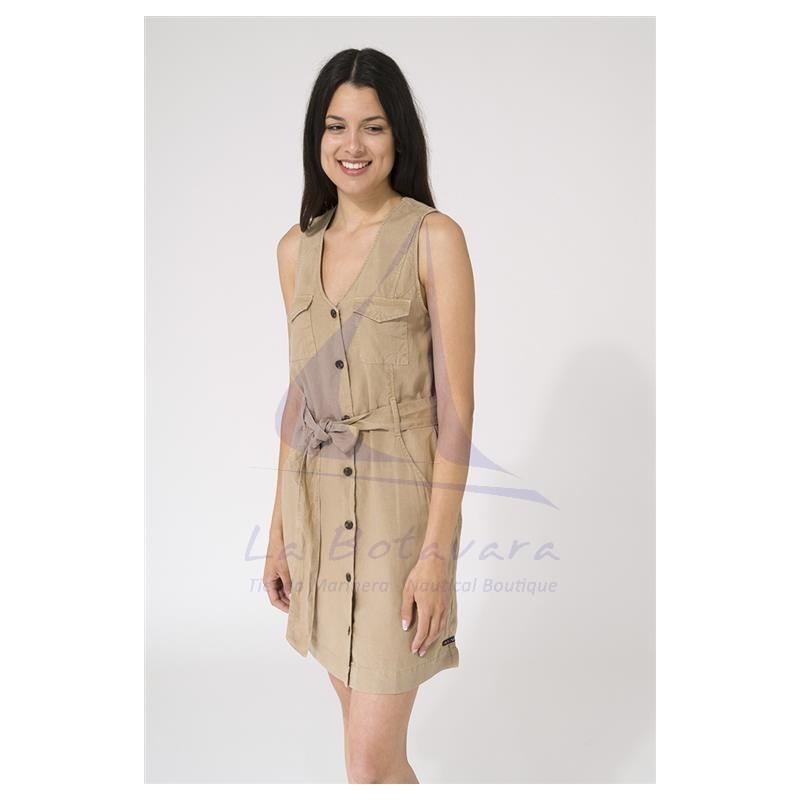Vestido Batela de mujer liso sin mangas con cinturón beige 2