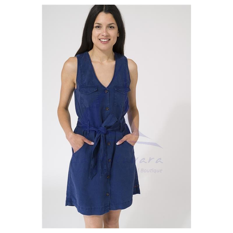 Vestido Batela de mujer liso sin mangas con cinturón azul ink 2