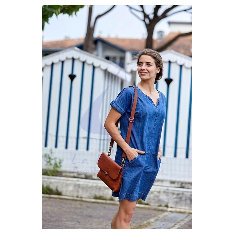 Vestido Batela denim de mujer de manga corta 3