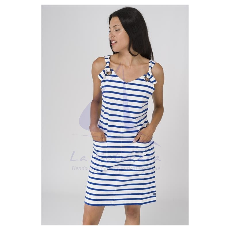 WHITE AND BLUE STRIPED STRAPS DRESS 2
