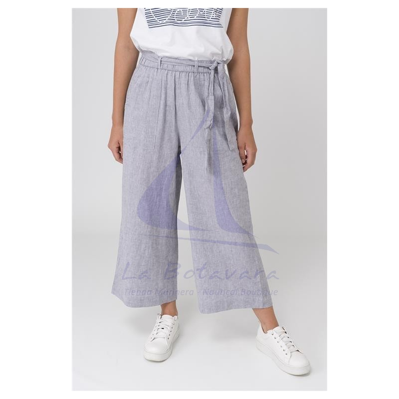 GREY LINEN BATELA CROP TROUSERS 2