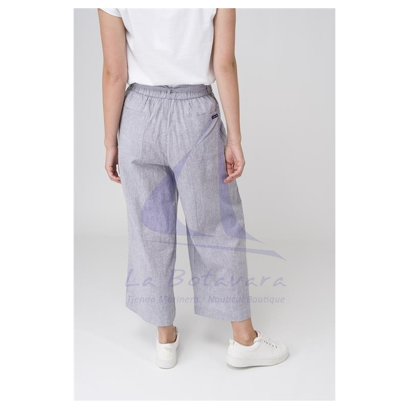 GREY LINEN BATELA CROP TROUSERS 3