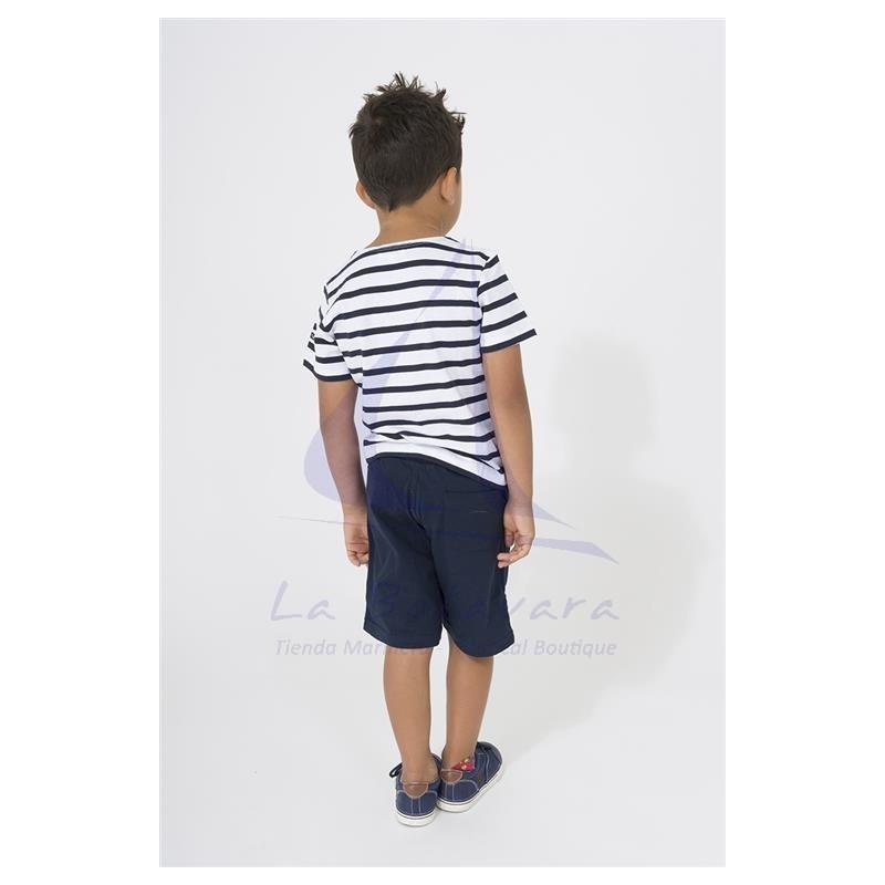 White & navy blue striped Batela t-shirt for boy 3